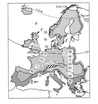 乙两个地区的经纬度的位置如下图所示