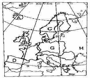(1)将标注字母的岛屿,半岛的名称填在下列名称空格上