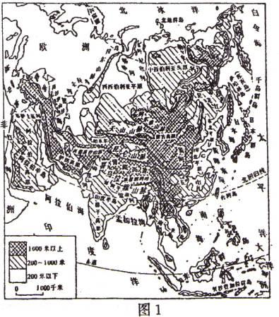 (1)亞洲地形以_______和
